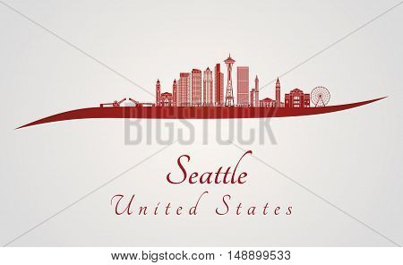 Seattle skyline in red and gray background in editable vector file