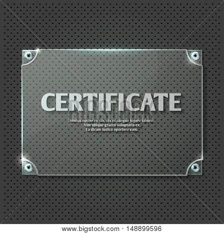 Certificate design on glass plate vector mockup. Transparent template panel illustration