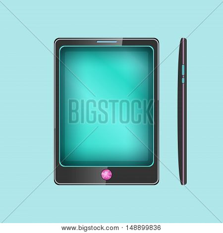 Phone, Smartphone Isolated on Blue Background, Front and Side Views Tablet Computer, Vector Illustration