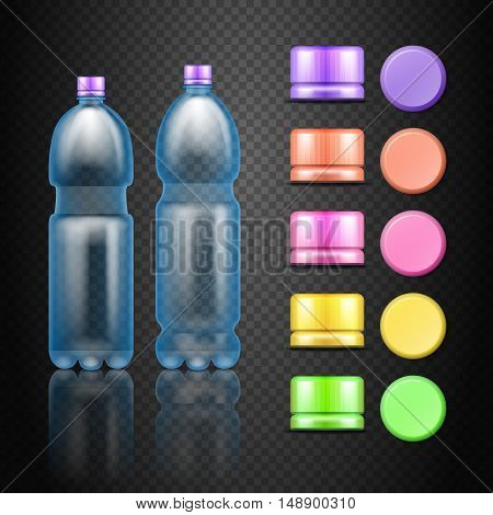 Vector empty plastic water drink bottles with set of multicolored caps. Colored caps for water bottel illustration