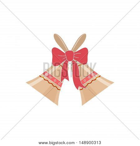 Holiday Jingle Bells with Ornament Decorated with a Pink Bow Isolated on White Background, Christmas Decoration , Vector Illustration