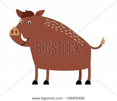 Big wild boar with white fangs and a short tail