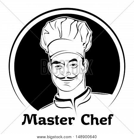 vector illustration of a chef in a cap black and white