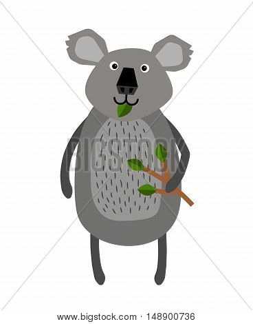Grey koala standing on two legs and holding a twig