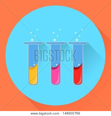 chemical test tubes with a liquid substance. Flat style. EPS10