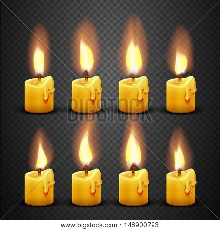 Vector candle with fire animation on transparent background. Flame animated effect illustration