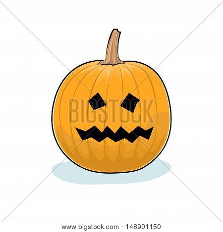 Carved Terrible Scary Halloween Pumpkin on White Background, a Jack-o-Lantern, Vector Illustration