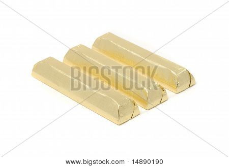 Chocolate Wrapped In Golden Foil Isolated On White Background