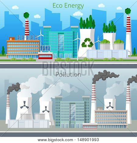 Eco Factory Green Energy and Air Pollution Cityscape. Vector illustration