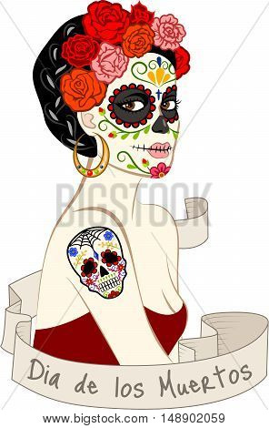 Mexican beautiful woman with Dia Los Muertos make-up and sugar skill tattoo