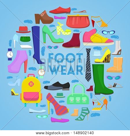 Footwear and Accessories Vector Icons Set with Boots and Shoes