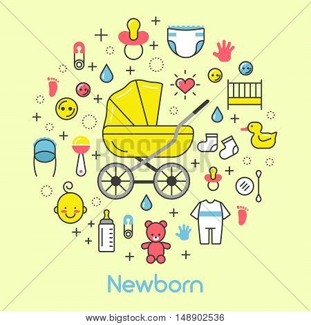 Newborn Baby Line Art Thin Vector Icons Set with Baby Carriage