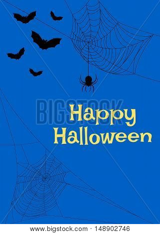 Halloween card with spider webs and bats