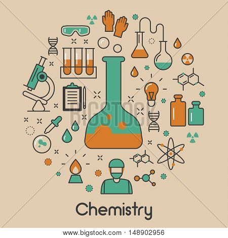 Chemistry Line Art Thin Vector Icons Set with DNA and Chemical Elements