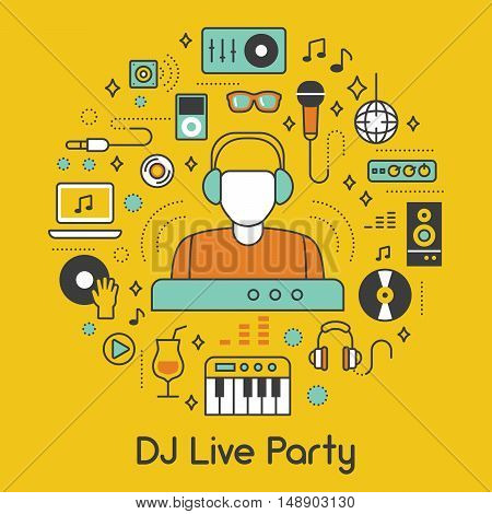 DJ Music Party Line Art Thin Vector Icons Set with Musical Instruments