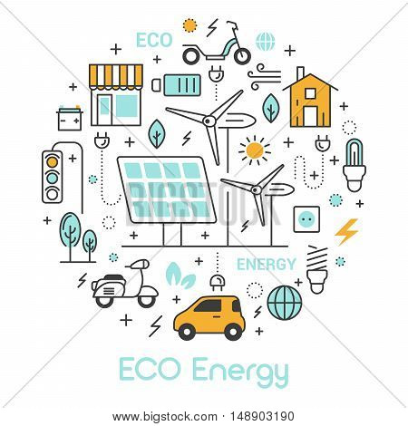 ECO Green Energy Thin Line Vector Icons Set with Solar Battery and Windmill