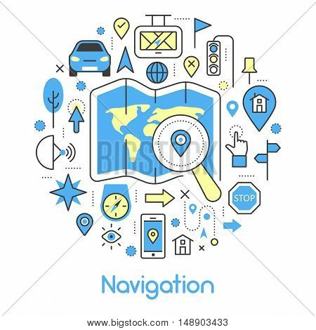 Navigation Cartography Thin Line Vector Icons Set with Map and GPS