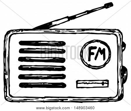Old radio receiver. Vector illustration, doodle style