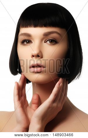 Beauty Model With Perfect Glossy Black Hair. Close-up Portrait.