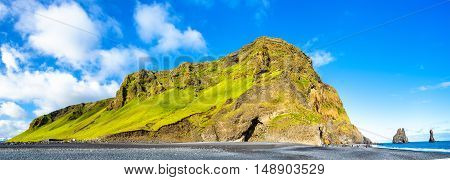 Reynisfjall Mountain at the Black Sand Beach of Reynisfjara - South Iceland