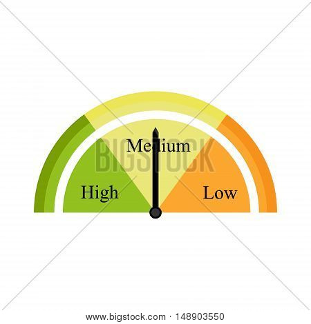 Vector illustration tachometer icon. Measurement icon. Speedometer. Speed icon flat design medium high slow
