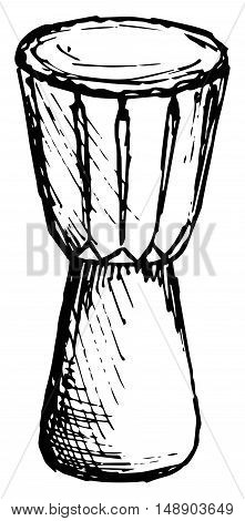 African drum, Musical instrument. Vector, doodle style.