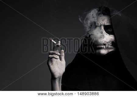 Scary Death Makes Cloud Of Smoke. The Concept