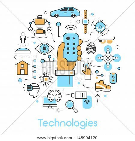 Modern Technologies Line Art Thin Vector Icons Set with Smart House and Quadrocopter