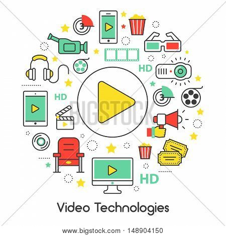 Video Technologies Line Art Thin Vector Icons Set with Cinema Elements