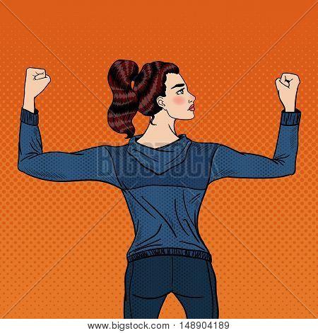 Pop Art Confident Athletic Woman Showing Muscles. Vector illustration