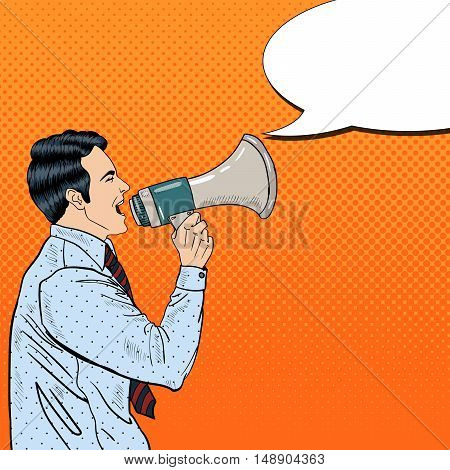 Pop Art Businessman Shouting in Megaphone. Vector illustration