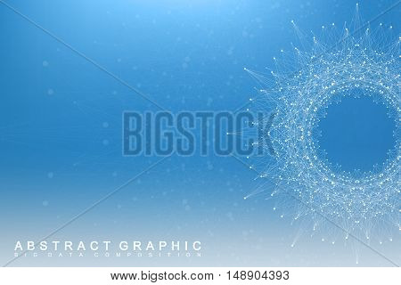 Graphic abstract background communication. Big data visualization. Perspective backdrop with connected lines and dots. Social networking. Illusion of depth. Vector illustration