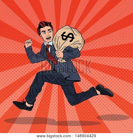 Pop Art Businessman Escapes Taxes with Money Bag. Vector illustration