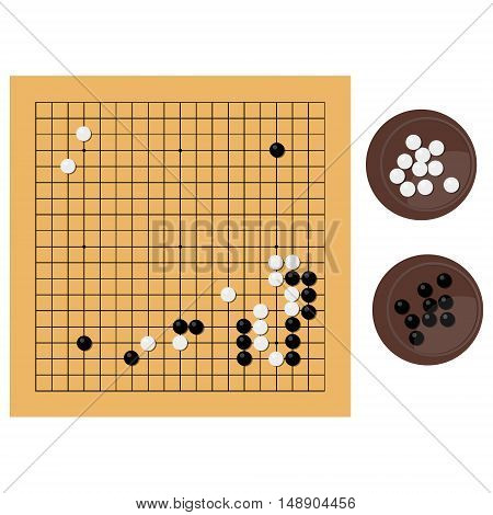 Vector illustration traditional chinese japanese strategy board game. Go game igo go board and bowl yundzi.