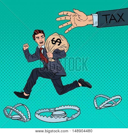 Pop Art Businessman Escapes Taxes with Money Bag. Vector illustration