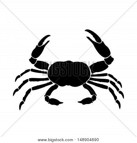 Vector illustration crab black silhouette. Crab icon. Seafood shop logo branding template for craft food packaging or restaurant design.