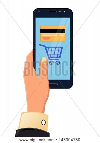 Vector illustration of hands holding tablet. Mobile payments from credit card on the screen. Flat style