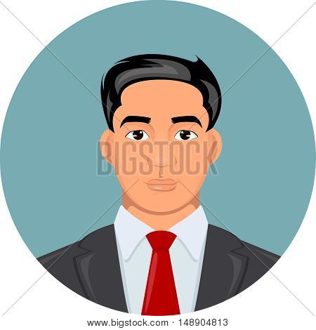 Cartoon illustration of a handsome businessman in suit. Vector portrait style