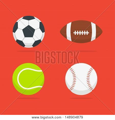 Sport balls vector set of isolated from the background. Icons soccer tennis baseball and american football balls in a flat style. Symbols sports equipment.