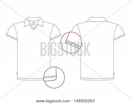 Vector t-shirt template front, back view. Vector t-shirt isolated on white background.