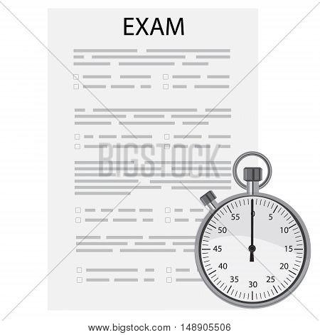 Vector illustration test paper and timer. Exam or survey concept icon. School test. School exam.