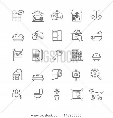 house and real estate icons set for your design