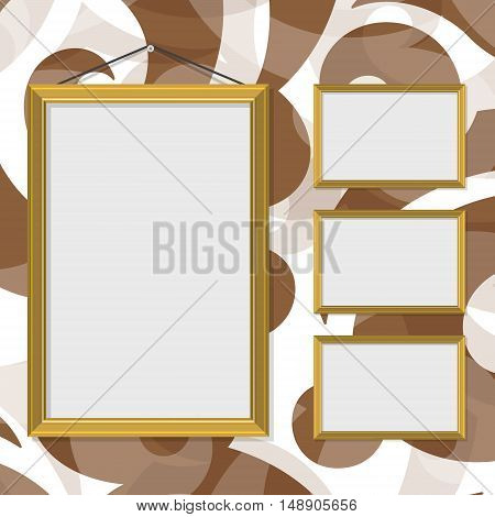 Vector illustration blank gold golden picture frame template set hanging on wall. Brown pattern background on wall