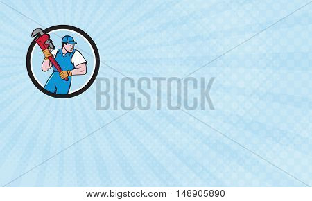 Business Card showing Illustration of a plumber holding giant pipe wrench looking to the side viewed from front set inside circle on isolated background done in cartoon style.