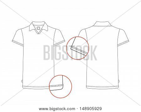 Vector t-shirt template front, back view. Vector t-shirt isolated on white background. White vector tshirt in outline style.