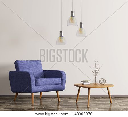 Interior With Armchair And Coffee Table 3D Rendering