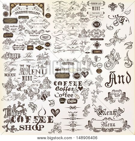 Big collection of vector decorative elements flourishes swirls frames borders ornaments and other in vintage style. Mega set