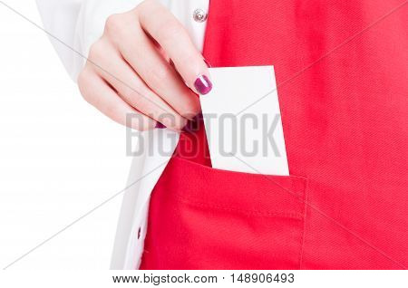 Close-up Of Medic Hand Pulling Out Visit Card