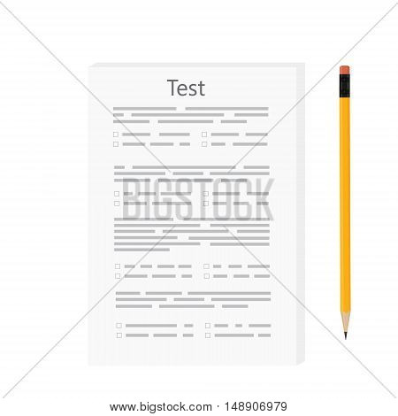 Vector illustration test exam paper and pencil. Exam or survey concept icon. School test. School exam.