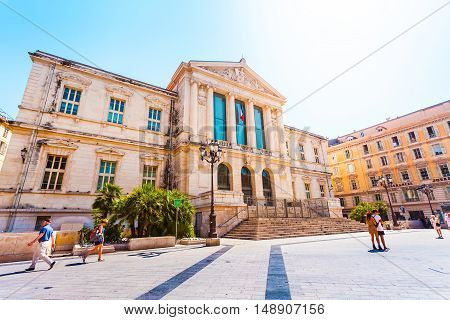 Justice Palace in the old town of Nice in sunny weather, France